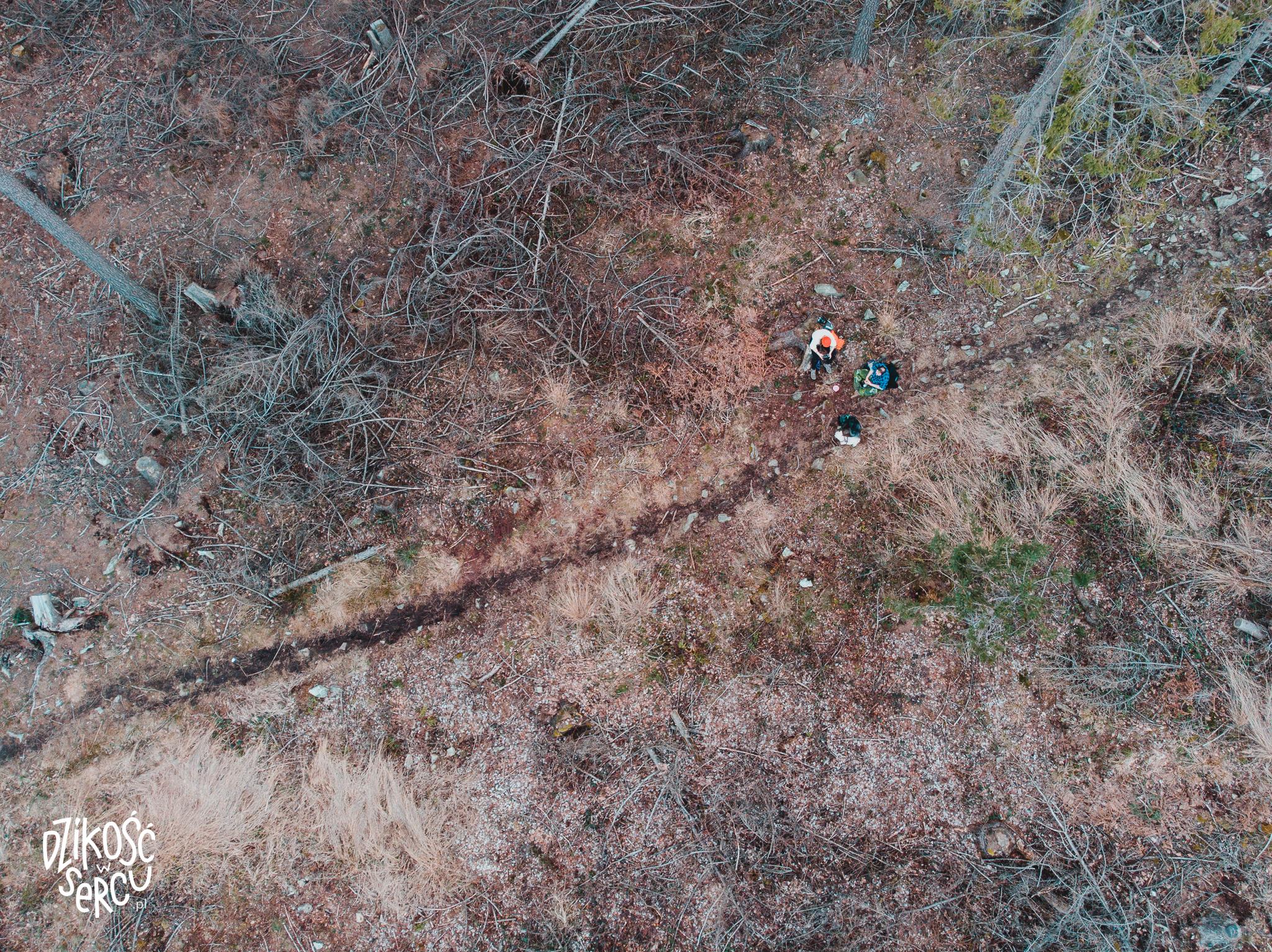 Samotne wędrówki. Widok z drona.
