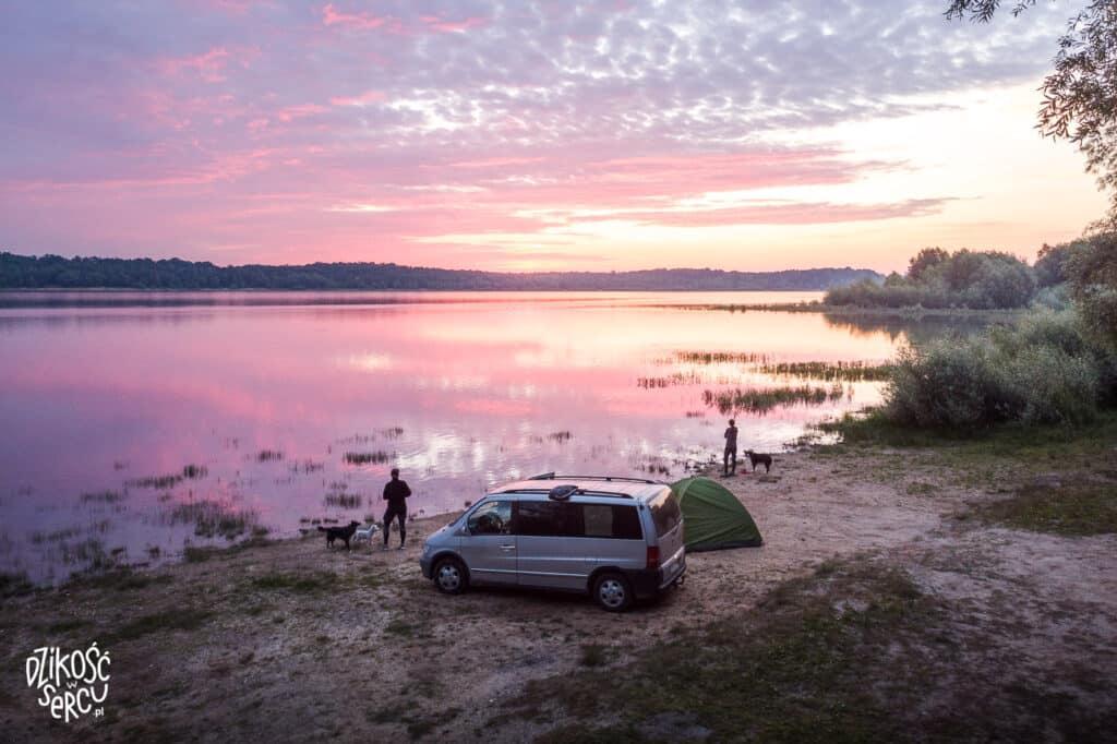 Różowy wschód słońca nad jeziorem, vanflife, auto i namiot, dwie dziewczyny z psami
